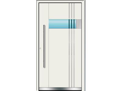 Weiße Haustüren mit Glaselementen sind im Trend.