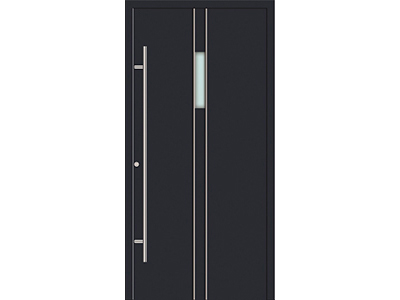 Graue Haustüren aus Aluminium.