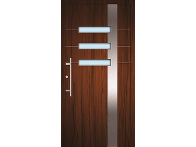 Holztür mit Aluminiumeinsatz.