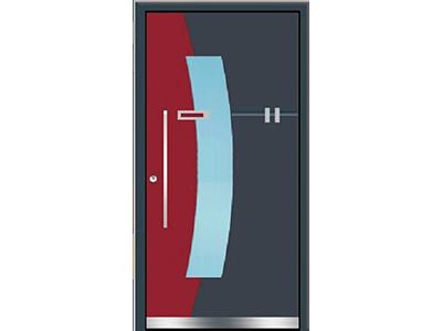 Aluminiumtür mit Glaseinsatz und Rotem Teilstück.