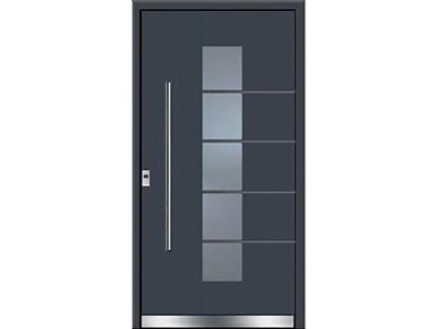 Glas und Aluminiumtüren sind eine zeitlose Kombination.