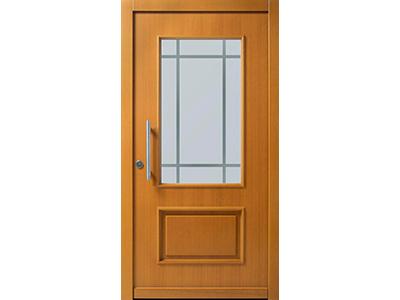 Holztüren mit Glaseinsatz.
