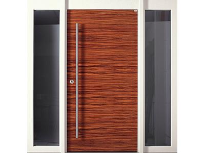 Moderne Holzhaustüren gibt es auch mit Seitenteilen aus Glas.
