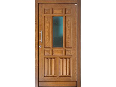 Holzhaustüren bekommen Sie auch mit Glaseinsatz.
