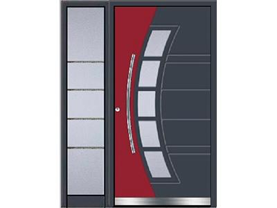 Aluminiumhaustüren gibt es auch mit farbigen Einsätzen.